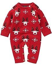 طفل الفتيات بنين عيد الميلاد الغزلان سترة رومبير الوليد القطن الناعم محبوك عيد الميلاد الدافئة بذلة الملابس (Color : A, Size : 18-24 Months)
