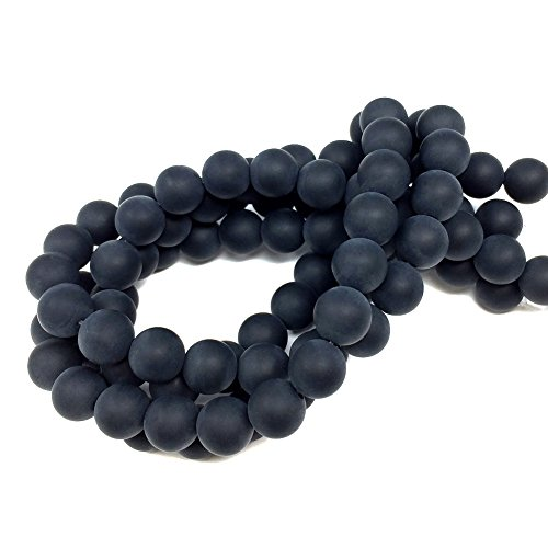 Chengmu 8mm Matte Black Onyx Beads Natural Gem Round Loose Beads for Jewelry Making for Bracelet Necklace