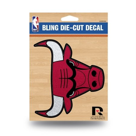 Rico Industries NBA Chicago Bulls Bling Die Cut Window Decal with Glitter Accent