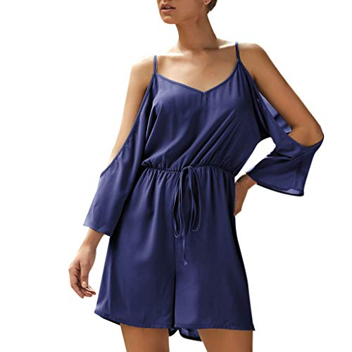 kemilove Summer Short Sleeve Rompers for Women Off Shoulder Sleeveless Belted Casual Straps Ruched Short Jumpsuit Blue