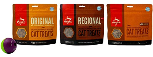 Orijen Freeze-Dried Cat Treats 3 Flavor Variety with Play-n-Treat Ball Bundle, 1 Each: Original, Regional, Whole-Prey Single Wild Boar (1.25 - Treat Catnip Liver