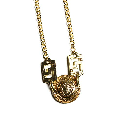 Large Gold Gianni Versace Single Sided Medusa Head Coin Chain with Greek Key ()