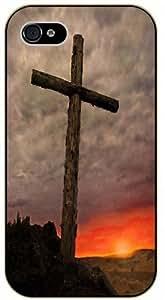 Jesus Christ cross - Wood and sunset - Bible verse iPhone 5C black plastic case / Christian verses