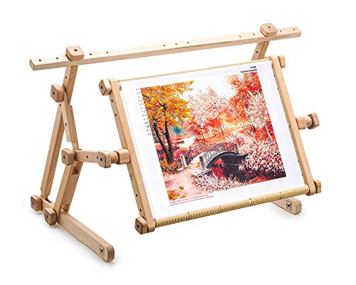 AllAboutEmbroideryUA Embroidery Adjustable Lap Table Stand Hands Free Needlepoint Wooden Cross Stitch Scroll Frame Tapestry Holder Bed Table Stand Craft Tool (15.8