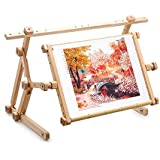 """AllAboutEmbroideryUA Embroidery Adjustable Lap Table Stand Hands free Needlepoint Wooden Cross Stitch Scroll Frame Tapestry Holder Bed Table Stand craft tool (15.8""""x22"""")"""