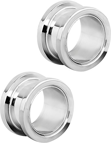 Set of 9/16 Inch Surgical Steel Ear Gauges Screw Fit Tunnels, 14mm Tunnel Plug Earrings -