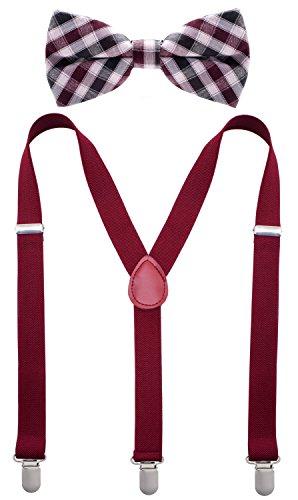Bowtie & Suspender Set - Maroon & White Checkered Bowtie & Maroon Suspenders