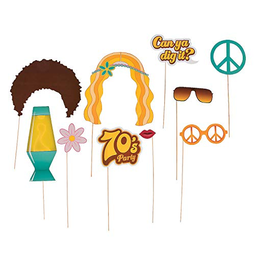 Fun Express - 70's Party Photo Props for Party - Apparel Accessories - Costume Accessories - Costume Props - Party - 12 Pieces