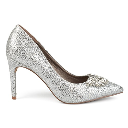 Brinley Co. Womens Faux Leather Jewel Pointed Toe Glitter Heels Silver, 6 Regular US