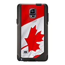 CUSTOM Black OtterBox Commuter Series Case for Samsung Galaxy Note 4 - Red White Canadian Flag Canada