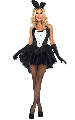 JJ-GOGO Bunny Costume Women - Sexy Tux Tails Adult Halloween Tuxedo Bunny Cosplay Costume for Lady]()
