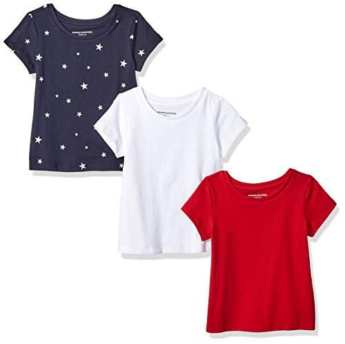 (Amazon Essentials Toddler Girls' 3-Pack Short-Sleeve Tee, Star/White/Red, 4T)