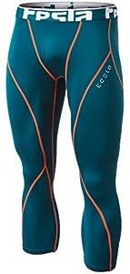 Tesla TM-YUC32-FGN_Large Men's Thermal Wintergear Capri Shorts Compression Baselayer Tights YUC32