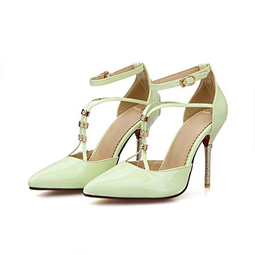 BalaMasa Womens Solid Dress Patent Leather Pumps-Shoes LightGreen WxeIs