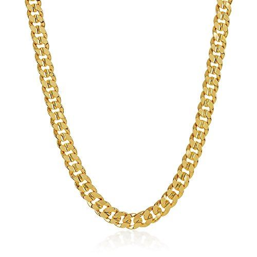 The Bling Factory 10mm 14k Gold Plated Concave Cuban Link Curb Chain Necklace, 20