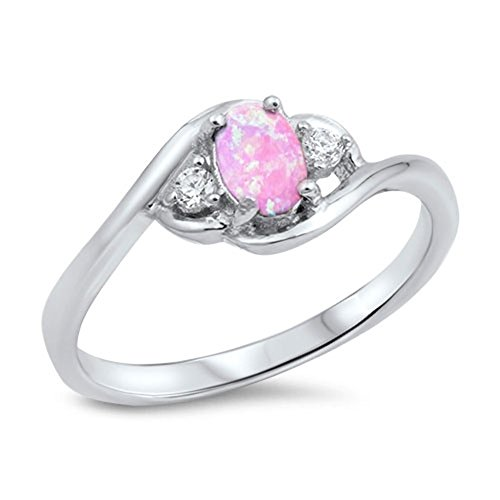 Swirl Oval Pink Simulated Opal Cute Ring New .925 Sterling Silver Band Size 6