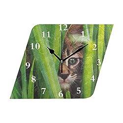 HangWang Wall Clock Cat Weeds Feline Cute Silent Non Ticking Decorative Diamond Digital Clocks Indoor Outdoor Kitchen Bedroom Living Room