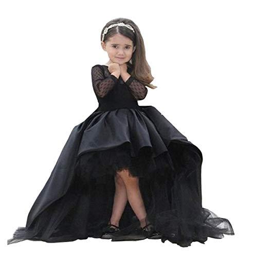 Helen Flower Gilr Dress Wedding Kids Hi-lo Ball Gown for Baby Tollder Black 110