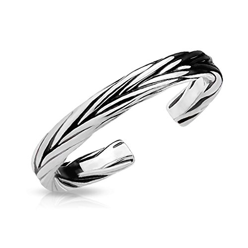 FifthCue Double Braided Adjustable Rhodium Plated Brass Finger Mid-Ring or Toe Ring (Steel) ()