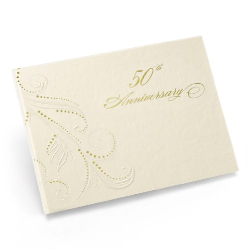 50th Wedding Anniversary Guest Book - Hortense B. Hewitt Wedding Accessories 50th Anniversary Swirl Dots Guest Book, Ivory