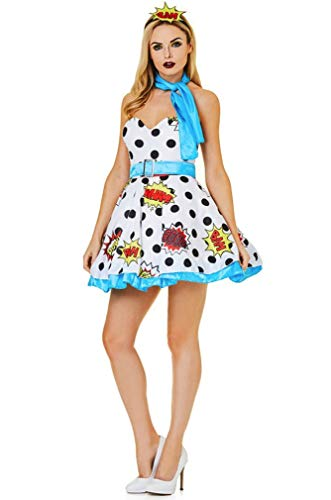 Women's Miss Pop Art Costume- for Halloween Party Accessory, Medium