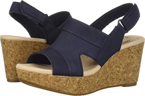 CLARKS Women's Annadel Ivory Wedge Sandal, Navy Nubuck, 060 M US (Heels Sandals Woman)