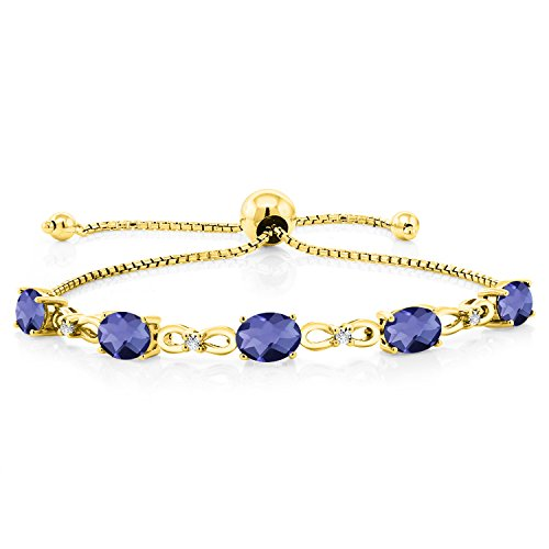 (3.25 Ct Oval Blue Iolite 18K Yellow Gold Plated Silver Diamond)