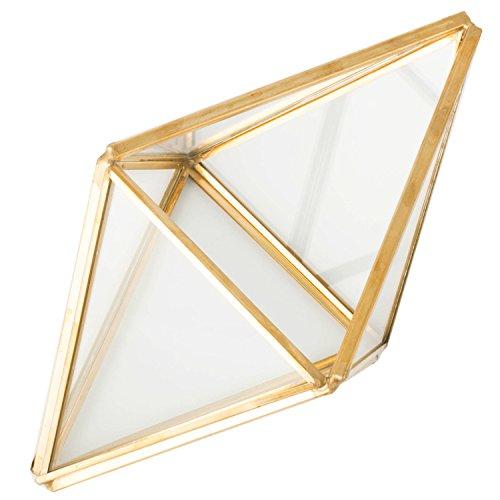 Glass Plant Terrarium Succulent Planter - Tchan Prism Geometric Tabletop Brass Glass Artificial Home Decor (gold)