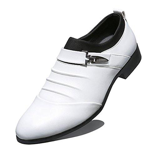 Blivener Men's Oxford Wedding Shoes Formal Slip On Dress Shoes White US 6.5