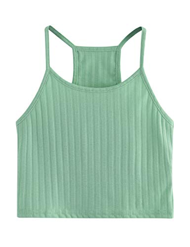Cropped Sleeveless (SheIn Women's Summer Basic Sexy Strappy Sleeveless Racerback Crop Top Small Mint)