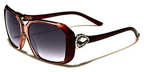 VG Designer RECTANGLE FEMME Lunettes de soleil - COMPLET UV400 Protection GRATUIT vibranthut microfibre poche inclus TRANSLUCIDE saumon/Rouge