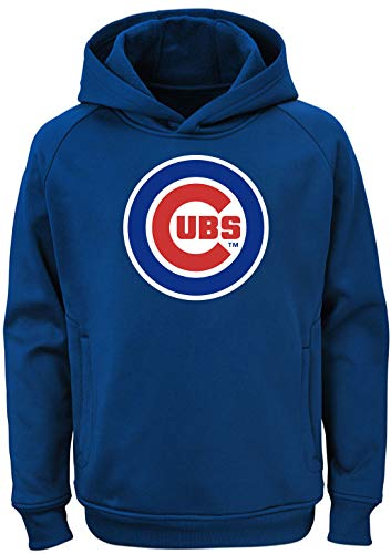 Cub Hoodie Sweatshirt - Outerstuff MLB Kids 4-7 Team Color Polyester Performance Primary Logo Pullover Sweatshirt Hoodie (7, Chicago Cubs)