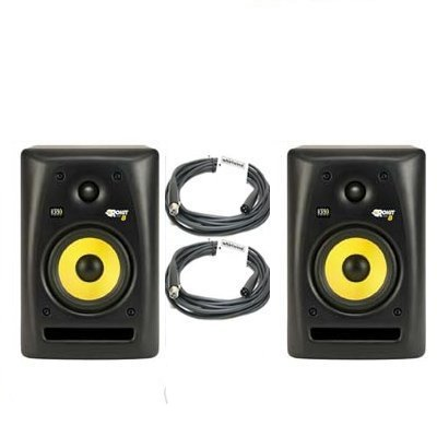 20' Whirlwind Xlr Cable - KRK RP8 G2 Rokit Powered Studio Monitors (PAIR) + 2 Whirlwind XLR 20' Cables