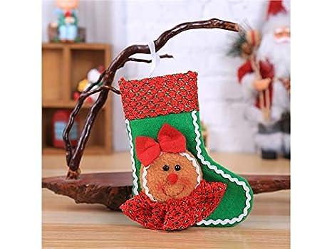ATTOUPAN Estilo navideño Hombre de Jengibre Calcetines de Navidad Adornos de árbol de Navidad Adornos de