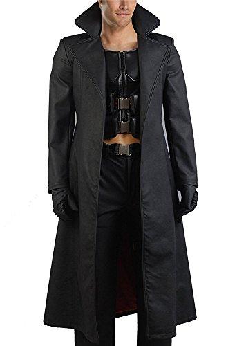 VOSTE Halloween Cosplay Costumes Black Long PU Leather Jacket Vest Full Set for Men (Medium, Full Set)