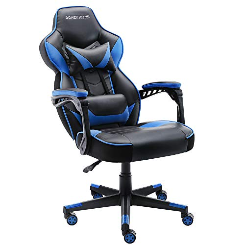 Bonzy Home Game Chair, Computer Chair with Ergonomic Backrest and Seat Design Features PU Leather and Upgrade Gas Lift Support Adjustable and Comfy Use (Black and Blue)