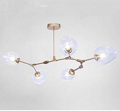 MYNIGHTWISH Pendant Light Molecular Ceiling Lamp Modern DNA Chandelier Multi Branch Light 5 Head Free Bulbs