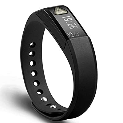 EFO-S BLACK K5 Wireless Activity and Sleep Monitor Pedometer Smart Fitness Tracker Wristband Watch Bracelet for Men Women Boys Girls Ladies Man iPhone 6 Plus 5S 5C 5 4S, iPad Air, mini, Galaxy S6 S5 S4 S3, Note 4 3 2, Tab 4 3 2 Pro, Nexus 4 5 7 10, HTC On
