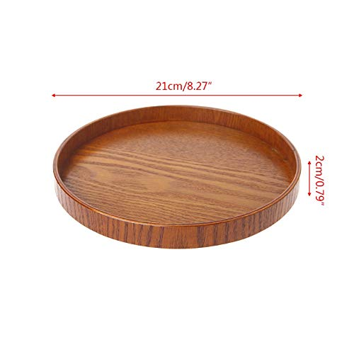 Gold Happy Natural Wooden Round Plate Tea Fruit Food Bakery Serving Tray Dishes Platter New -