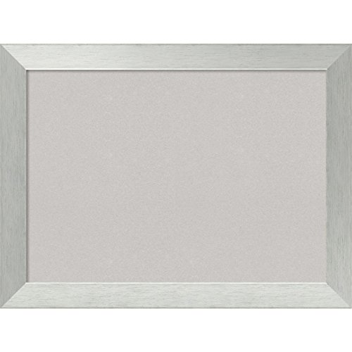 Amanti Art Framed Grey Cork Board Brushed Sterling Silver: Outer Size 32 x 24'', Large by Amanti Art