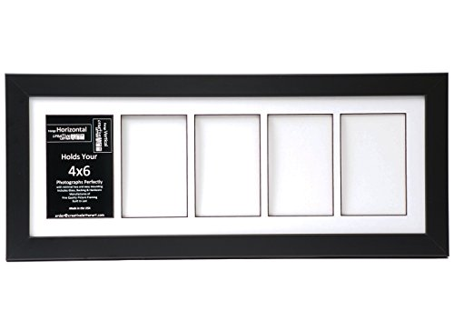 Creative Letter Art [8x22bk-w] 5 Opening Glass Face Black Picture Frame Holds 4x6 Media with White Collage Mat