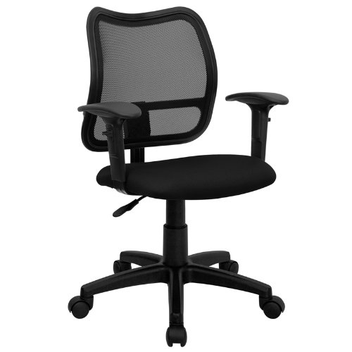 Flash Furniture Mid-Back Black Mesh Swivel Task Chair with Adjustable Arms by Flash Furniture
