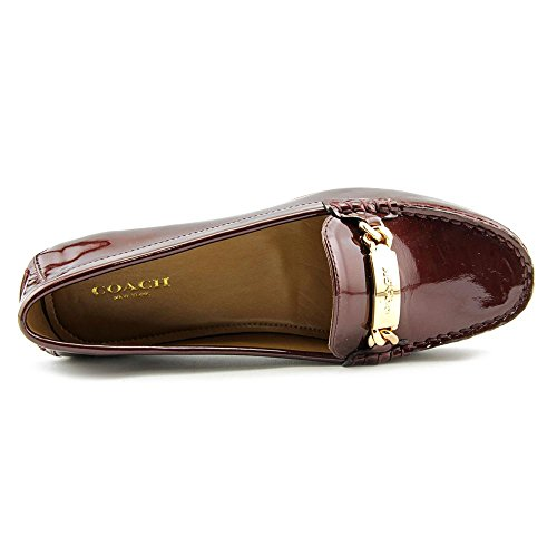 Coach Olive Women Moc Toe Patent Leather Burgundy Loafer ZiAeK818p