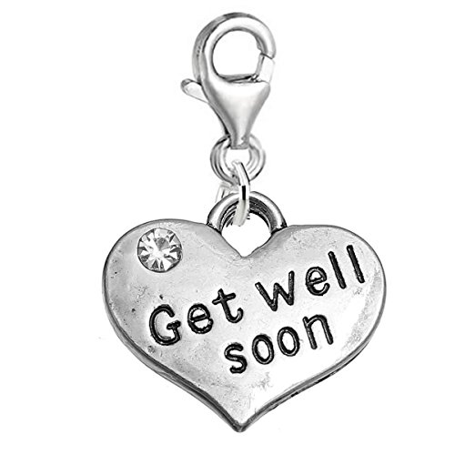 Charm Well Get (SEXY SPARKLES Get Well Soon Heart Charm W/Clear Rhinestones Clip on Lobster Claw Clasp Charm for Bracelet and Necklace)