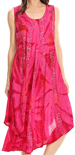 na Tie Dye Vine Print Dress / Cover Up with Sequins and Embroidery - Fuchsia - OS (Fuchsia Embroidery)