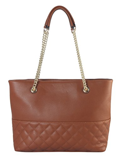 Diophy PU Leather Large Quilted Shoulder Handbag with Half Chain Strap ZU-2686 -