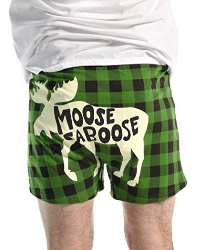 Moose Soft Comical Boxers for Men by LazyOne | Animal Pun Joke Underwear for Guys (Medium)