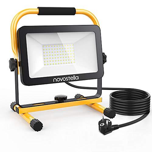 Novostella LED Baustrahler 60W 6000LM (Ersetzt 450W) LED Arbeitsscheinwerfer Baulampe, IP65 Wasserdicht 3030 LED 5M…