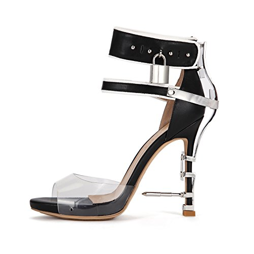 Zapatos Nueva Marea Metal Hebillas de High Heeled Transparente Hebillas Zapatos Gules ZHANGYUSEN Verano de Sandalias Oq7vzx