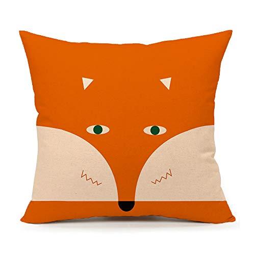 4TH Emotion Orange Abstract Cute Fox Design Home Decor Design Throw Pillow Cover Pillow Case 18 x 18 Inch Cotton Linen for Sofa]()